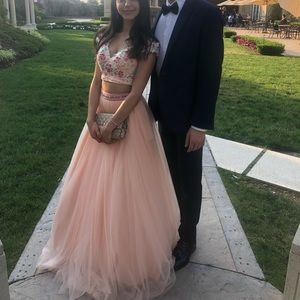 Two piece prom dress (crop top and skirt)